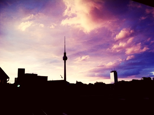 berlin by night, sunsetting